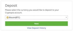 入金する仮想通貨を選択