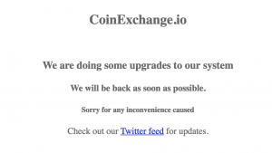 CoinExchange.io メンテナンスメッセージ